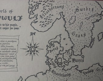 Beowulf map, hand-drawn