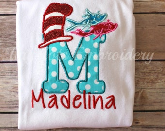 Dr. Seuss Top  ~ Girl's One Fish Two Fish Top ~ Dr. Suess Day!!  ~ Customize In Any Colors of Your Choice!
