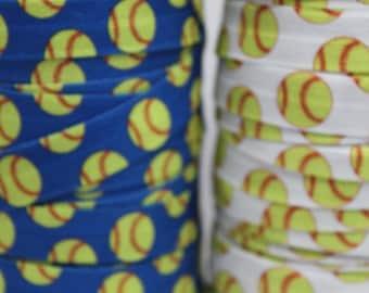 Softball FOE -Fold Over Elastic 5/8 inch by the yard...Print FOE, Headbands, Hair Ties and More!