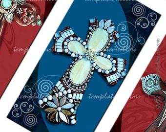 Celtic Cross Digital Collage Sheet 1x2 inch  images Original  Printable 4x6 inch sheet 326