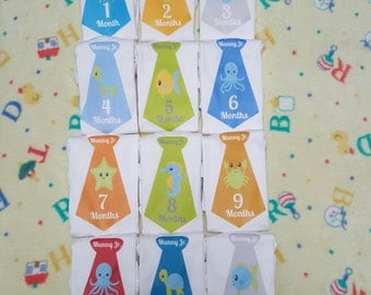 Month By Month onesies Ties for boy