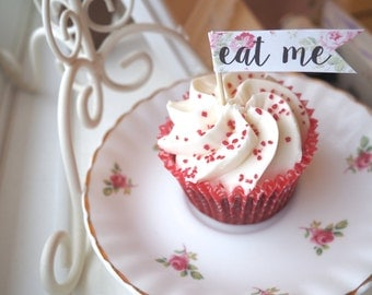 Vintage Shabby Chic Floral Personalised Eat Me I Do Marry Me Cupcake Toppers Flag Picks x20 Wedding Party