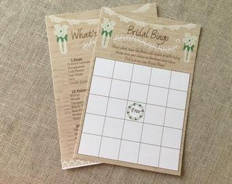 Hydrangea Bridal Bingo - Bridal Shower - Rustic Lace Burlap and Mason Jar Shower Game