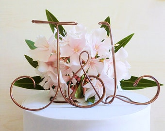 Initials cake topper, personalized wedding cake topper, wire cake topper, rustic wedding, alternative cake topper, handmade wedding