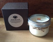 Tobacco Patchouli Scented 100% Soy Wax Mason Jar Candle With Wood Crackle  Wick , fragrance oil is phthalate free, gift box included