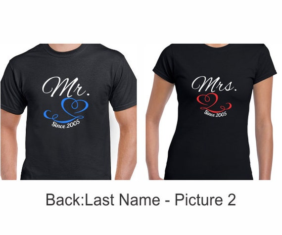 Just Married Mr. and Mrs. With Your Last Name Shirt Set - Customize the Name, Date and Colors - Honeymoon Shirts - Wedding Gift -Shower Gift