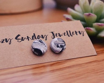 Black Marble - Polymer Clay Studs