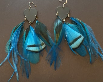 Black and Blue Guitar Pick and Feather Statement Earrings