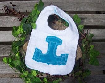 Thor's Hammer Bib for Baby - Aqua Blue - Heathen Pagan Viking Norse Baby Clothing