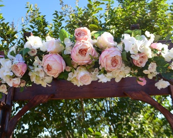 Wedding Arch, Ceremony Arch, Chuppah Arch, Silk Flower Arch, Wedding Arch, Rustic Wedding Flowers, Peony Arch, Faux Arch Flowers