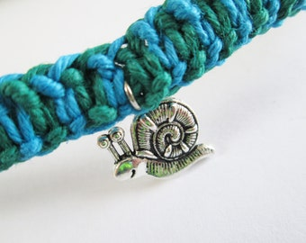 Snail - Handmade Blue and Green Hemp Necklace with Silver Snail Charm - Hemp Choker Necklace - Boho Jewelry