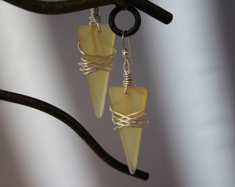 Yellow triangle recycled glass earrings