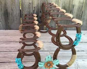 Horseshoe Boot Rack - Boot Rack - Six Pairs of Boots - Rustic Decor - Country Decor - Boot Storage - Horseshoe Decor - Horseshoe Art -Rustic