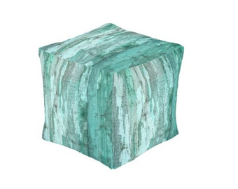Rustic Primitive Weathered Turquoise  Wood  Pouf  Ottoman Cube Footstool Floor Chair