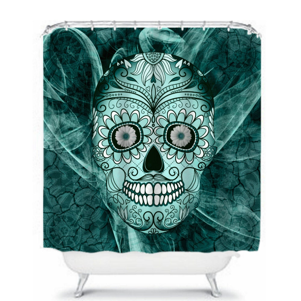 teal sugar skull shower curtain day of the dead by folkandfunky. Black Bedroom Furniture Sets. Home Design Ideas