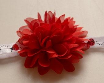 Red Chiffon Puff Flower on Ladybug FOE