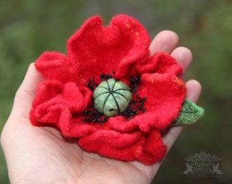 Red poppy brooch Red wool brooch Red poppy flower Felted flower brooch Handmade wool  jewelry Felted Fancy  Summer Party Summer Outdoors