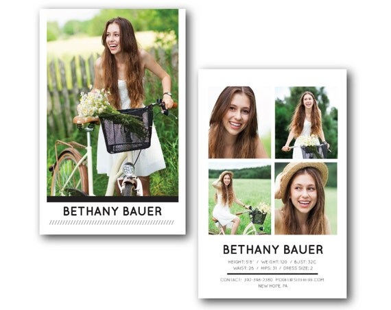 comp card modern model model zed card psd photoshop template for
