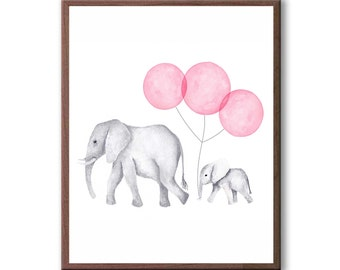 elephants watercolor painting kids room art baby elephant new baby gift - Picture Painting For Kids