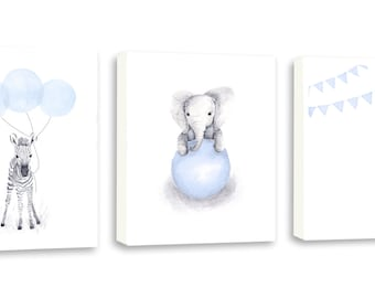 Girls Room Art, Girls  Nursery Decor, Art For Girls, Elephant, Giraffe, Zebra, Limited Edition Set Of Three Gallery Wrapped Canvas - SO63WC