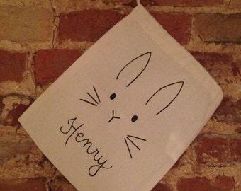 Easter Bunny Small Cotton Drawstring Bag