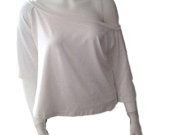 Designer White Off Shoulder BohemianTop - Made In Israel