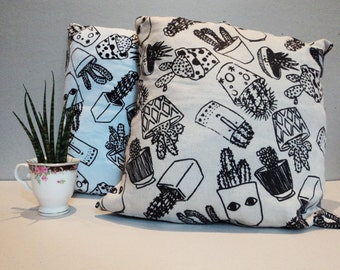 Hand screen printed Cacti cushion