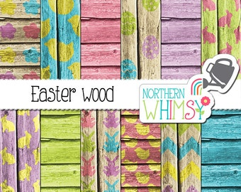 Easter Digital Paper – Easter patterns on wood textures - Easter wood - Easter scrapbook paper - printable paper - commercial use
