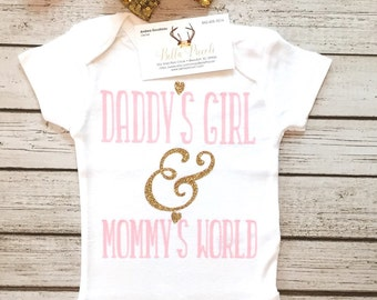 Baby Girl Clothes, Daddy's Girl & Mommy's World, Daddy's Girl Bodysuit, Mommy's Girl, Daddy's Girl Shirts, Baby Shower