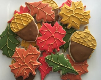 Fall Leaves and Acorn Cookies Assorted Dozen