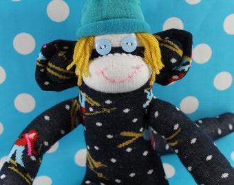 Sock Monkey / Ski Bum / Dark Blue, Yellow, Turquoise, White, Red, Pink / Ski Decor / Skier Gift / Unique / Gifts for Him / Gifts for Her