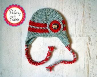 Ohio State University Crochet Baby Earflap Hat, Newborn to Toddler Sizes