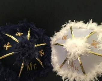 Bride and Groom(Navy Blue) Second line Umbrellas, MR and MRS New Orleans  Wedding Parasols, New Orleans Destination, Mardi Gras Wedding