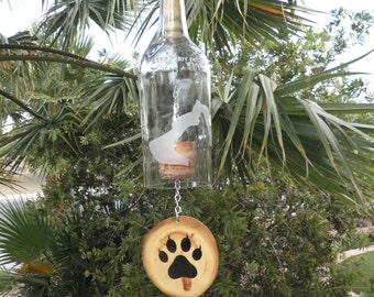 "Wine bottle wind chime ""Dog/Cat """