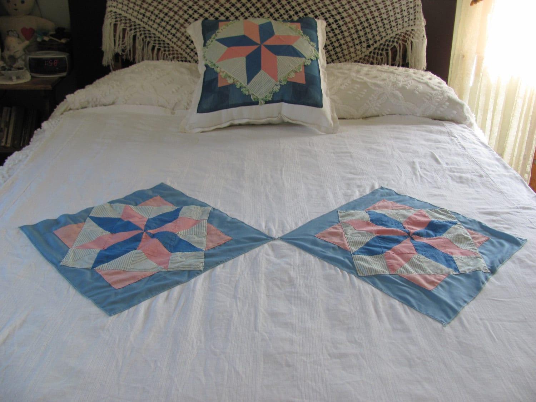 White Cotton Twin Duvet Matching Throw Pillow Handmade