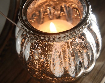 Set Of 3 Hanging Mercury Glass Candle Votive Holder