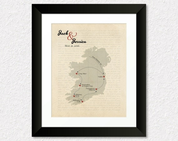 Unique Wedding Gifts Ireland : Personalized Anniversary Gift, Wedding Gift, Ireland Map Art, Song ...