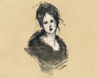 Vintage Lady VIII - ORIGINAL Art, Drawing, Pastel and Charcoal on Paper 120g