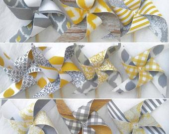 Pinwheels - Grey and Yellow, Fun Designs - Set of 10