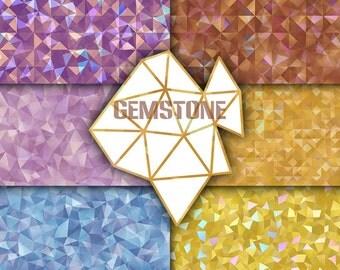 Gemstone digital paper gems pattern diamond background brilliant gold glitter purple textures scrapbooking gem geometric surface shine