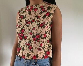 Vintage Rose Print Zip Back Crop Top Sz Small