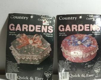 Jewelry Box, Gift Box, Decorative Box, Potpourri Box, Country Gardens Craft Kit, Hexagon or Round, Fabric 6 inch Box Kit Mauve or Green