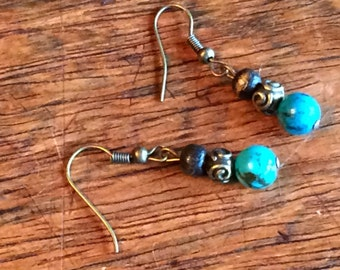 0202 -  Turquoise and wood Earrings