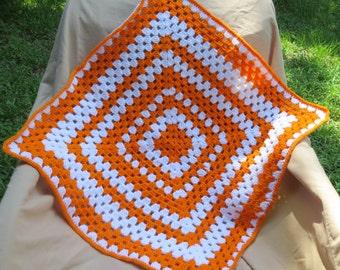 Crocheted Single Granny Square Baby Blanket in Orange & White
