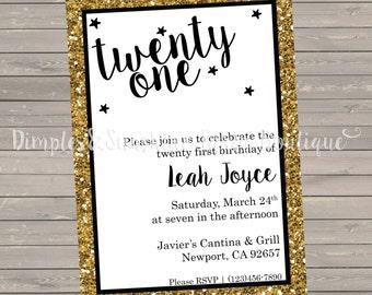 DIGITAL Gold Glitter | 21st Birthday, Sweet Sixteen, Eighteenth, Bridal Shower Invitation