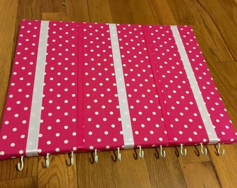 Hot Pink Polka Dot Hair Bow Holder Hair Bow Organizer