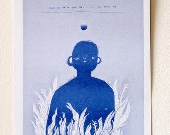 David Bowie Quote Riso Print