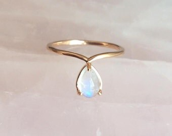 Solid 14K Rose Gold Rainbow Moonstone Droplet Ring Chevron Band Pear Shaped Tear Drop Prong Setting Genuine Stone White Fire Flash Gem Blue