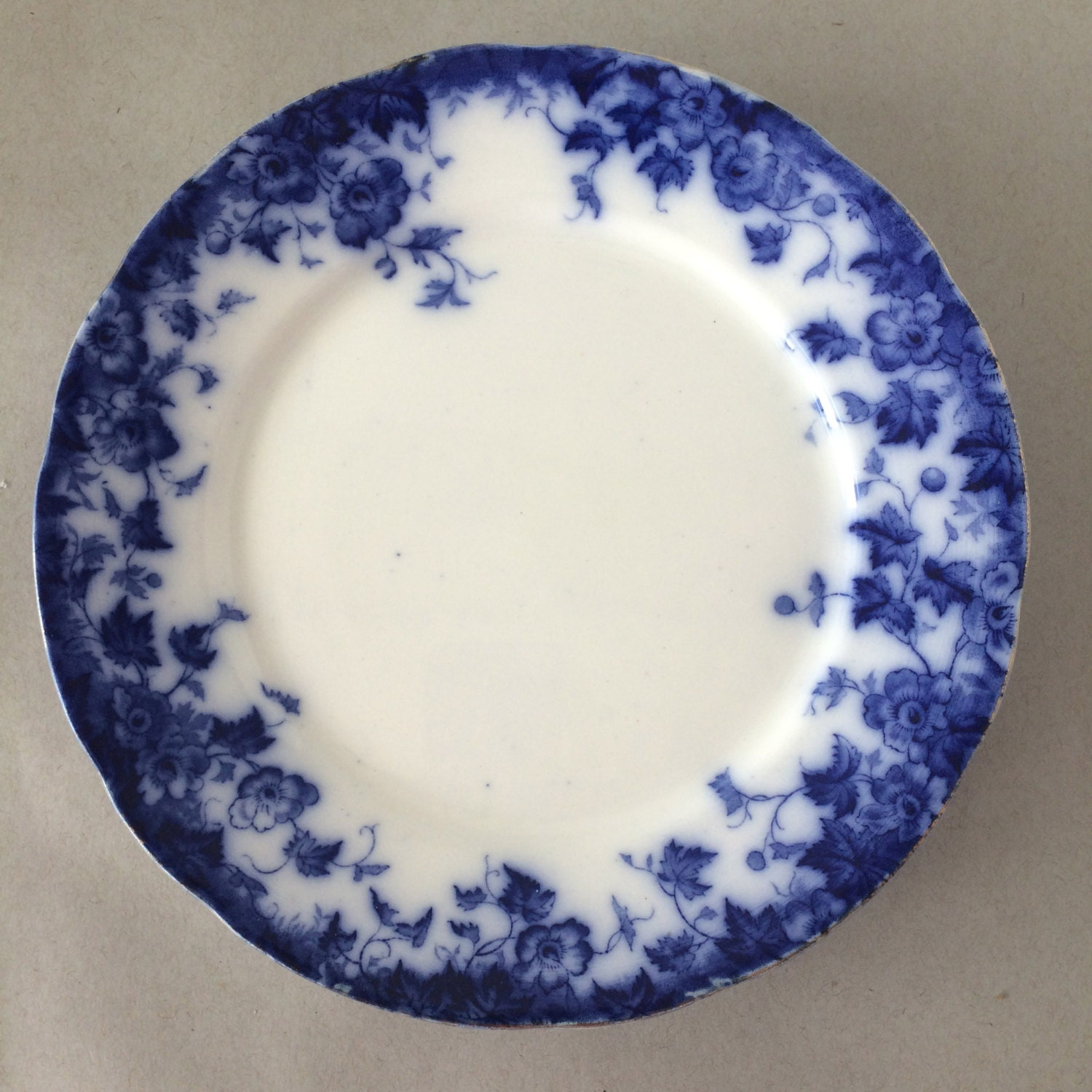 Antique flow blue plate burgess and leigh