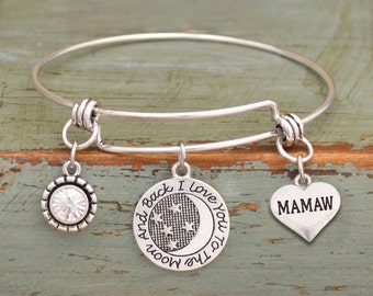 Love You To The Moon Mamaw Memory Wire Bracelet - 55788MAM